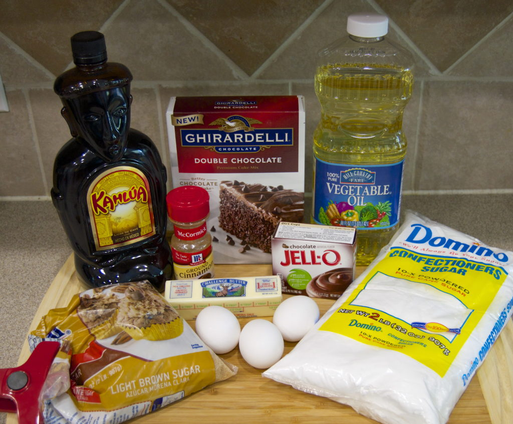 Chocolate Kahlua mini bundt ingredients