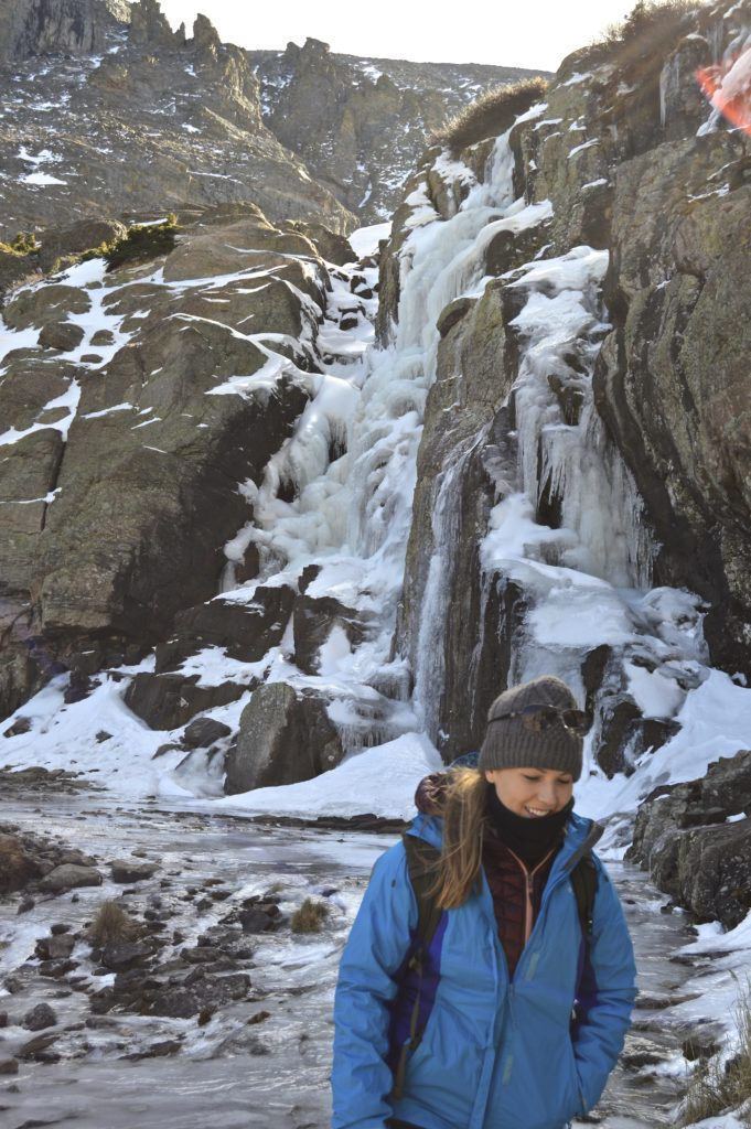frozen waterfall on sky pond trail in rocky mountain national park