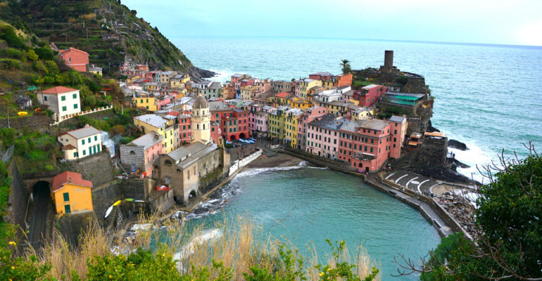 Hiking from Monterosso to Vernazza in Cinque Terre, Italy.