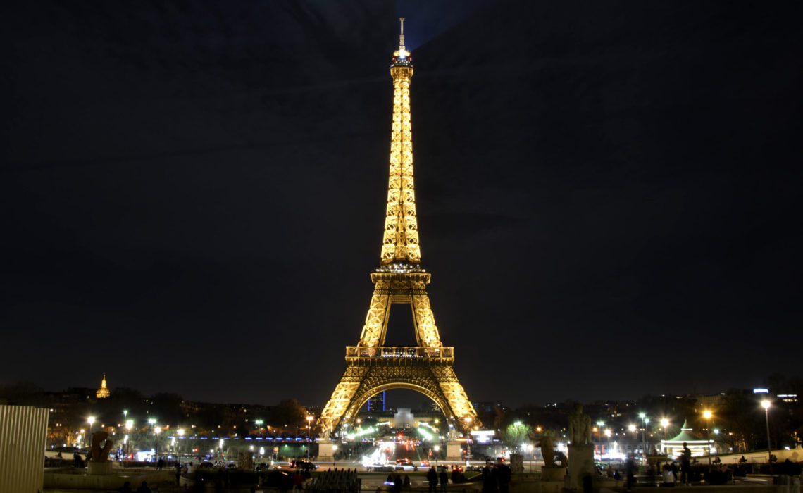 Our nighttime date spent watching the Eiffel Tower sparkle.